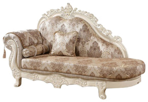 Serena Chaise Pearl White Finish With Silver Accents Lounge