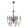 Salon De Provence Chandelier Natural Woodtone,aged Iron