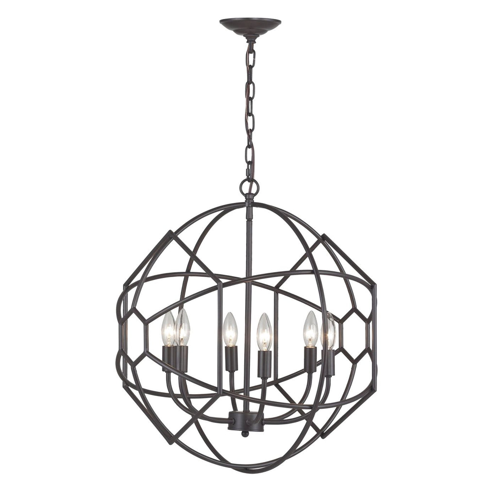 Strathroy 6 Light Orb Chandelier With Honeycomb Metal Work By Aged Bronze