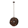 Organic Metal Etched Disk Chandelier Oil Rubbed Gold