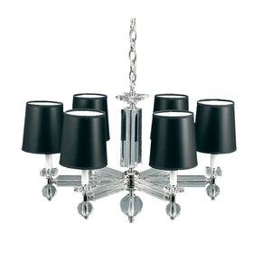 Estrella 6 Light Crystal Chandelier With Black Shades