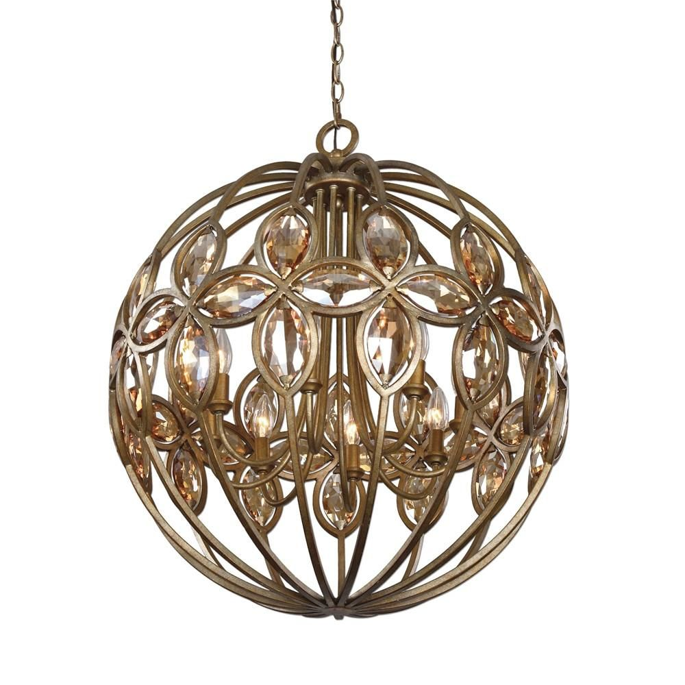Ambre 8 light gold sphere chandelier by uttermost utt 21269 ambre 8 light gold sphere chandelier aloadofball Image collections