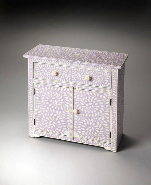 Vivienne Traditional Rectangular Bone Inlay Console Chest Purple