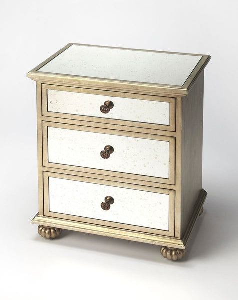 Grable Transitional Rectangular Accent Chest Silver