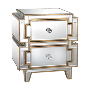 Hollywood Two Drawer Chest Clear,gold