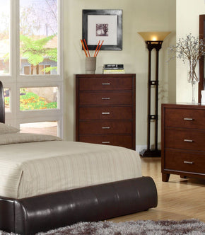 Delao Contemporary 5-Drawer Chest In Brown Cherry