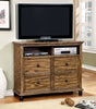 Lesko Industrial 4-Drawer Media Chest In Dark Oak