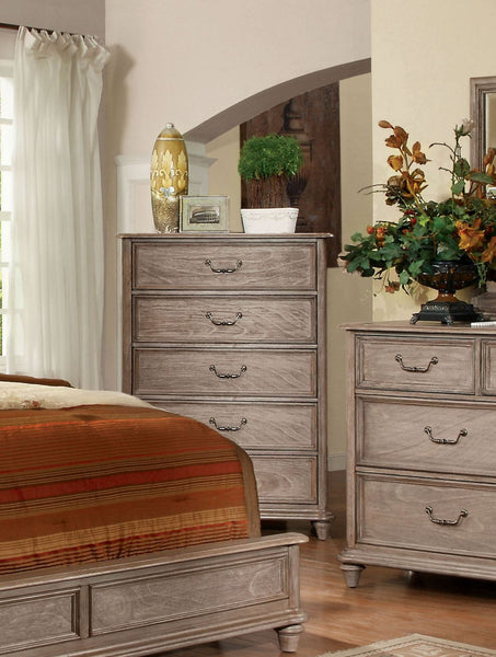 Moline Transitional 5-Drawer Chest In Rustic Grey