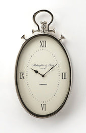 Camden Transitional Oval Wall Clock Silver