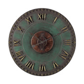 Metal Roman Numeral Outdoor Wall Clock. Marilia Verde With Gold Clock