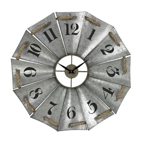 Aluminum And Rope Wall Clock Galvanized Metal,natural