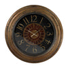 Large Clock With Distressed Hand Painted Frame Black,maroon,brunished Gold