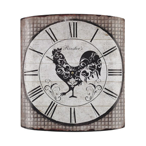 Stylized Rooster Wall Clock Grey Tartan