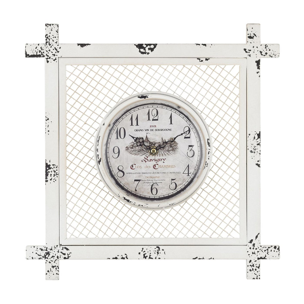 Vintage Style Clock In Square Mesh Distressed White