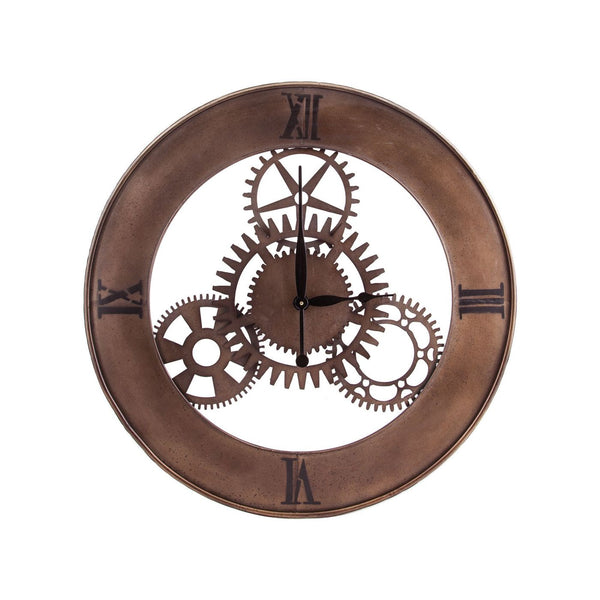 Industrial Cog Wall Clock By Silver With Champagne Antique