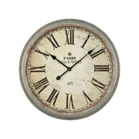 Château De Montautre Wall Clock Salvaged Metal