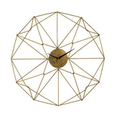 Angular Wirework Wall Clock Gold