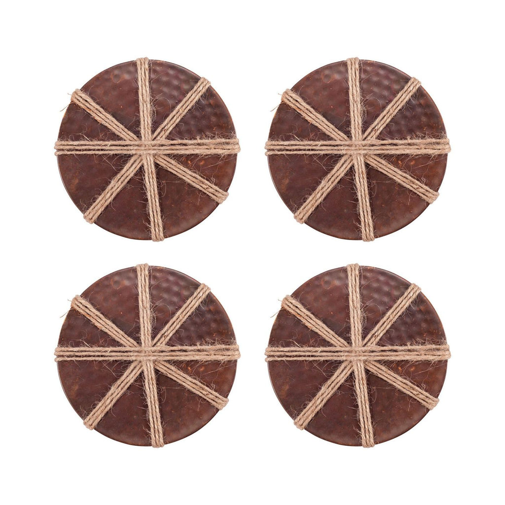 Burnham 16 Piece Coaster Set Burned Copper,jute