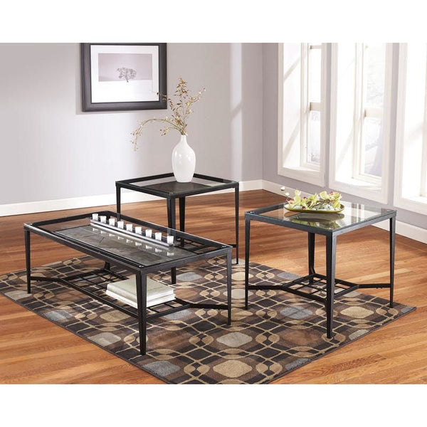 Signature Design By Ashley Calder 3 Piece Occasional Table Set Bronze, Slate Coffee