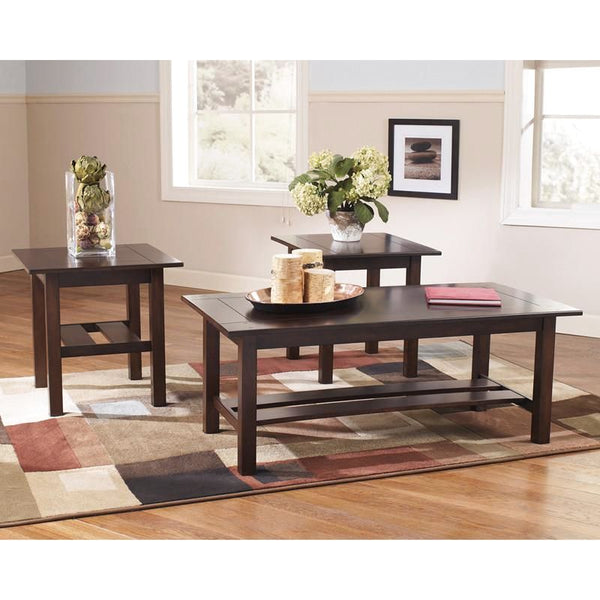 Signature Design By Ashley Lewis 3 Piece Occasional Table Set Medium Brown Coffee