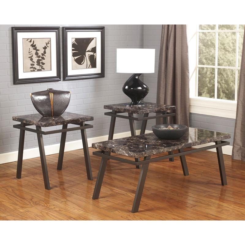 Signature Design By Ashley Paintsville 3 Piece Occasional Table Set Black, Bronze, Brown Coffee