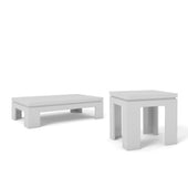 Bridge 2-Piece Accent Table Living Room Set In White Gloss Coffee