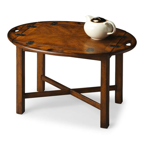 Carlisle Traditional Oval Butler Table Medium Brown Coffee
