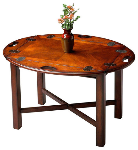 Carlisle Traditional Oval Butler Table Dark Brown Coffee
