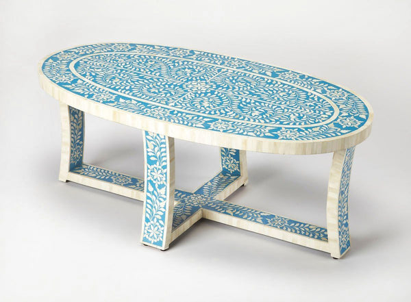 Sabina Transitional Oval Bone Inlay Cocktail Table Blue Coffee