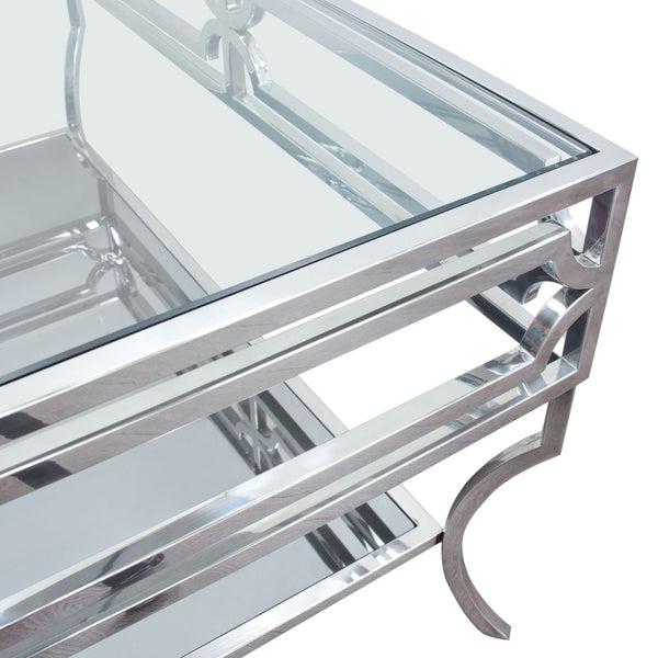 Avalon Cocktail Table With Clear Glass Top Mirrored Shelf & Stainless Steel Frame Coffee