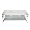 Avalon Cocktail Table with Clear Glass Top, Mirrored Shelf & Stainless Steel Frame