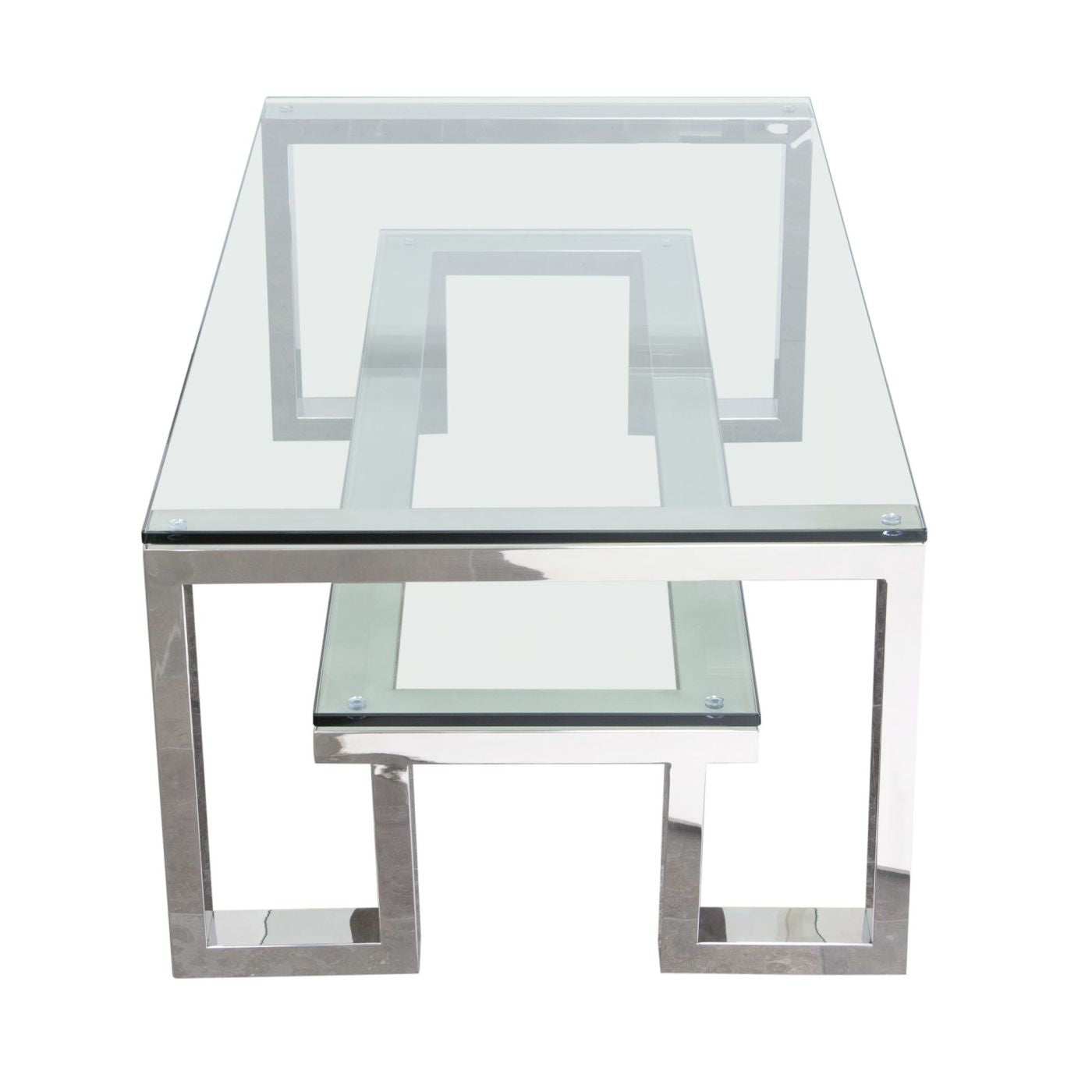 14f09cf9933 ... Carlsbad Cocktail Table With Clear Glass Top   Shelf Stainless Steel  Frame Coffee ...