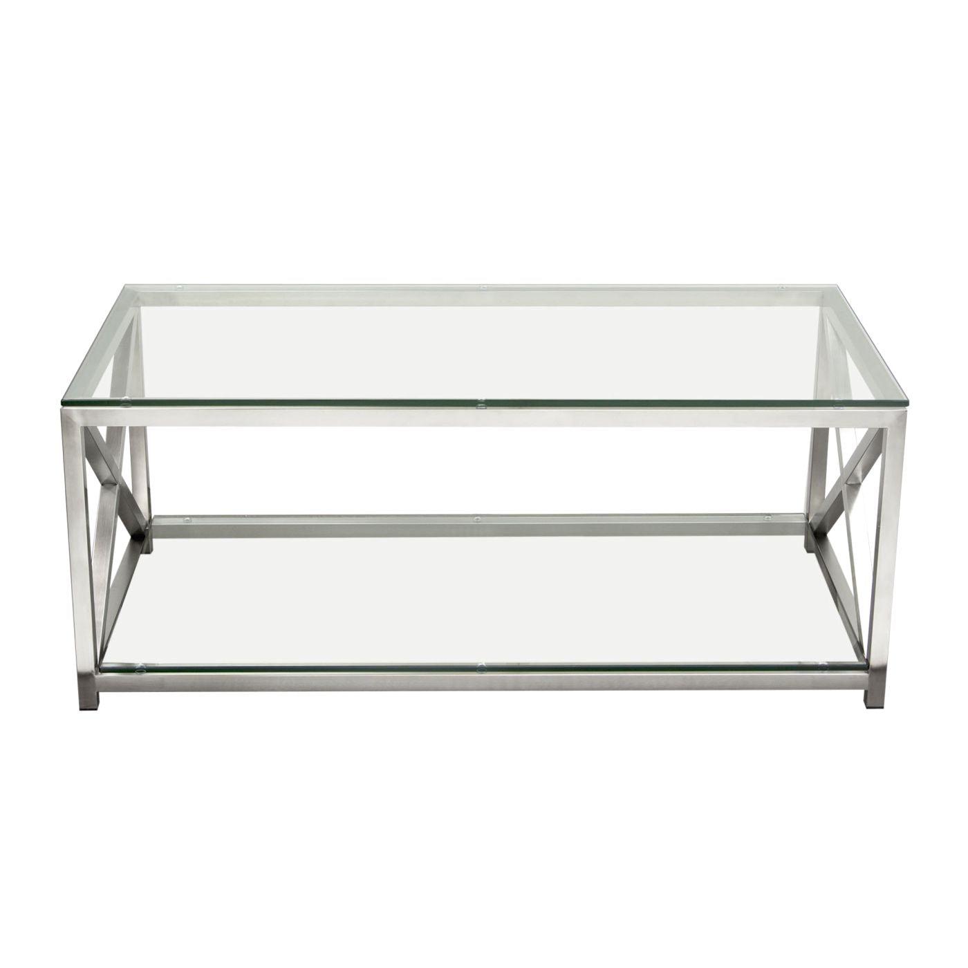 X Factor Cocktail Table With Clear Glass Top U0026 Shelf Brushed Stainless  Steel Frame Coffee ...