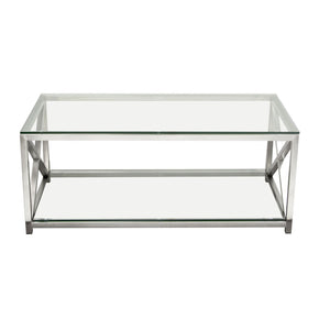 X-Factor Cocktail Table With Clear Glass Top & Shelf Brushed Stainless Steel Frame Coffee