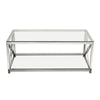 X-Factor Cocktail Table with Clear Glass Top & Shelf with Brushed Stainless Steel Frame