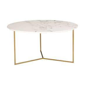 Glacier Round Coffee Table Gold / White Printed Marble