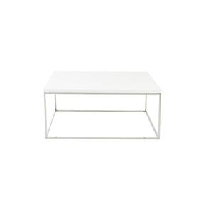 Teresa Square Coffee Table In White With Polished Stainless Steel Base