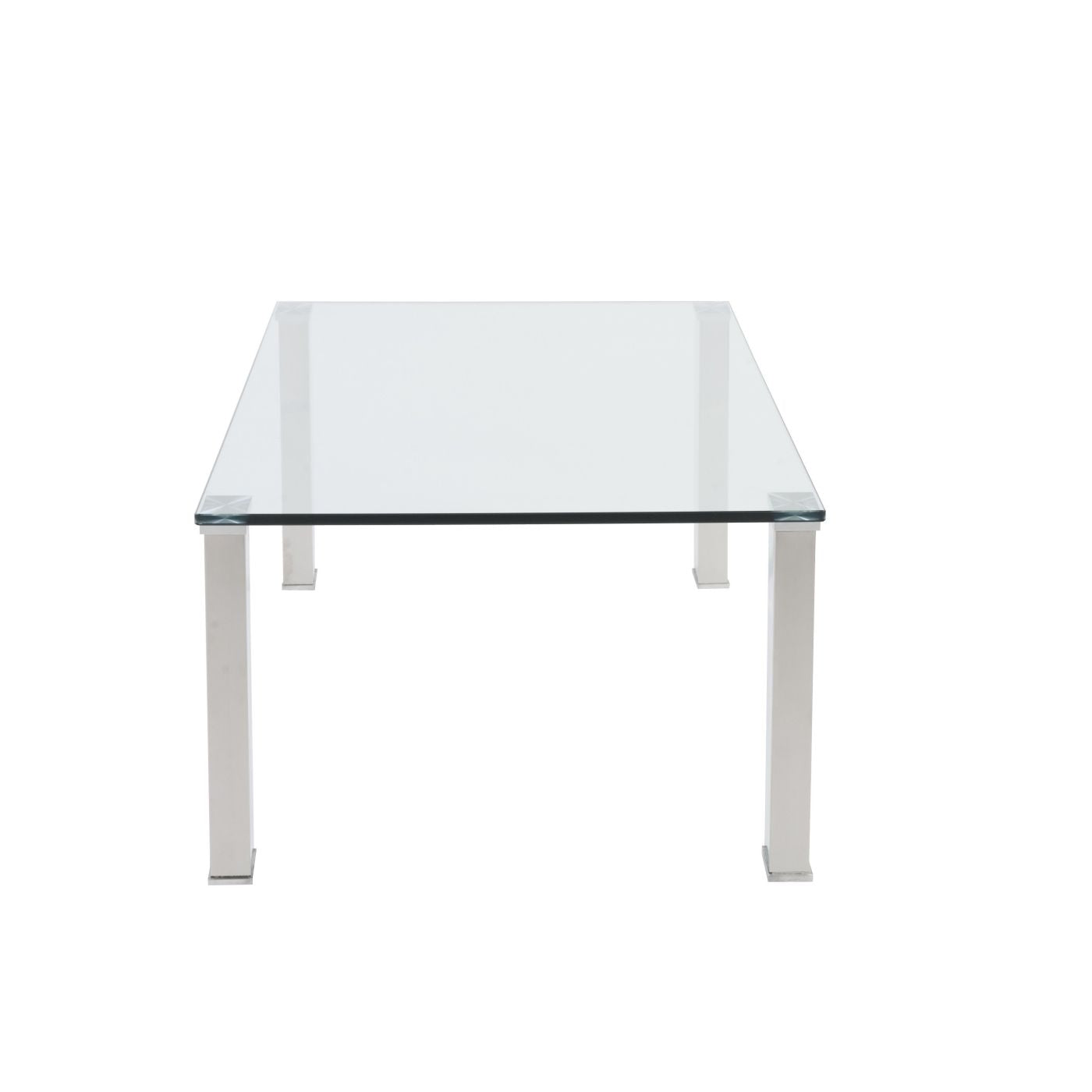 ... Beth Rectangle Coffee Table With Clear Tempered Glass Top And Polished  Stainless Steel Legs