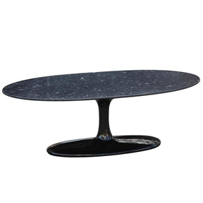 Flower Coffee Table Oval Marble Top Black