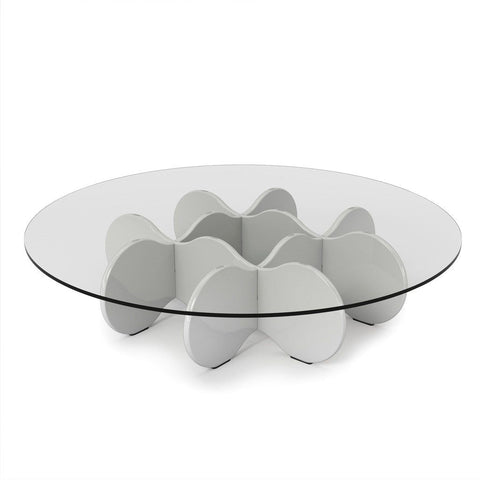 Waverly 28 Round Glass Top Accent End Coffee Table In White Gloss