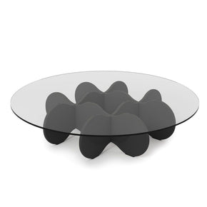 Waverly 28 Round Glass Top Accent End Coffee Table In Black Gloss