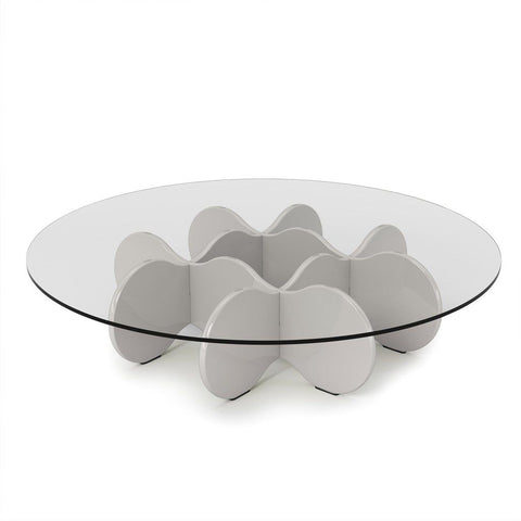 Waverly 28 Round Glass Top Accent End Coffee Table In Off White