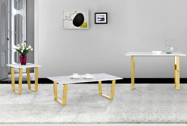 Coffee Tables - Meridian 212-C Cameron Gold Coffee Table Genuine Marble Top | 647899944840 | Only $394.80. Buy today at http://www.contemporaryfurniturewarehouse.com