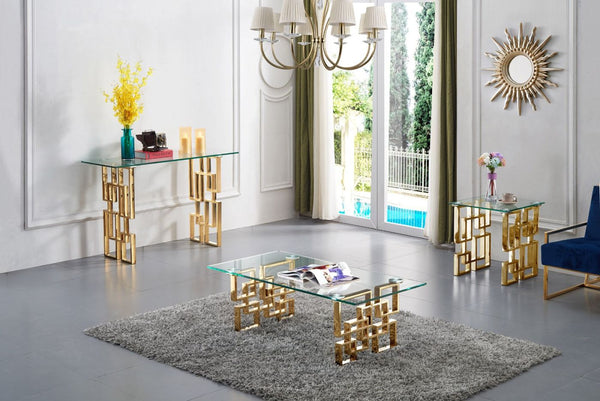 Coffee tables - Meridian 214-C Pierre Rectangular Gold Coffee Table Glass Top | 647899947360 | Only $454.80. Buy today at http://www.contemporaryfurniturewarehouse.com