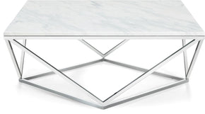 Coffee tables - Meridian 244-C Skyler Chrome Coffee Table Marble Top | 647899947230 | Only $454.80. Buy today at http://www.contemporaryfurniturewarehouse.com