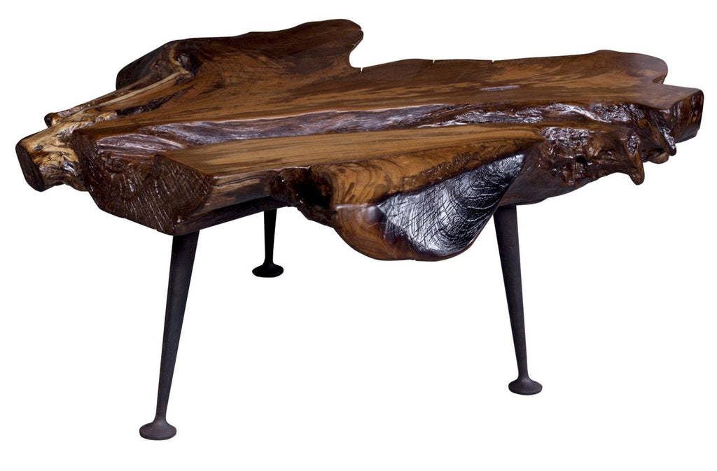 Natural Teak Coffee Table With Cast Iron Legs Solid Teak Wood Cast Iron