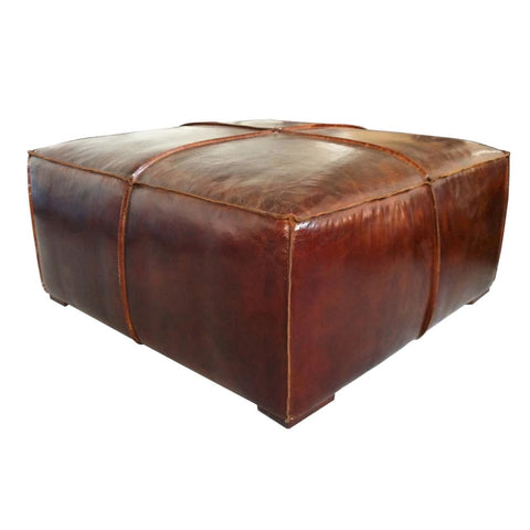 Stamford Coffee Table Brown Top Grain Leather Oak Wood Frame