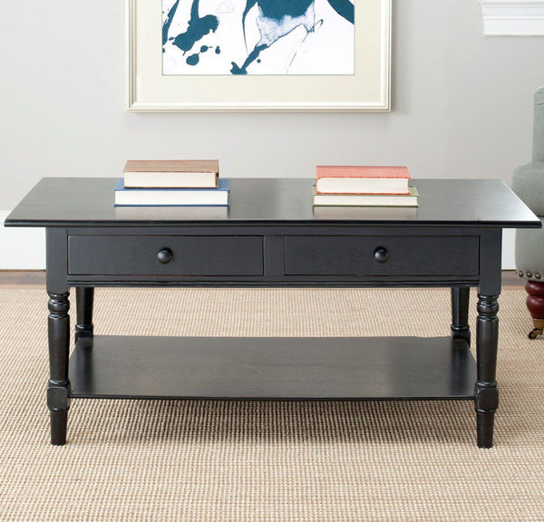 Coffee Tables - Safavieh AMH5706B Boris 2 Drawer Coffee Table Distressed Black | 683726471097 | Only $199.80. Buy today at http://www.contemporaryfurniturewarehouse.com