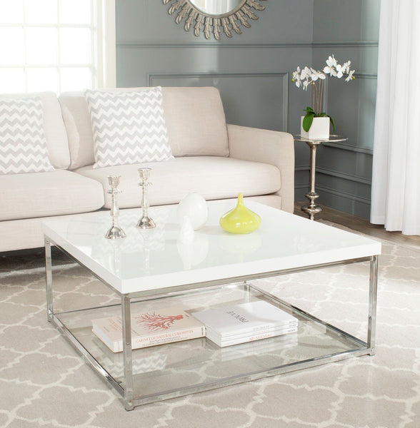 Malone Coffee Table White Lacquer & Chrome