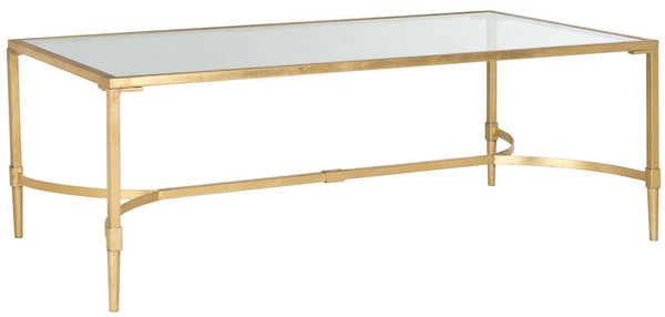 Antwan Coffee Table Gold/tempered Glass Top